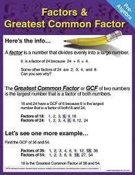 Greatest Common Factor Chart Greatest Common Factor Chart Factors Greatest Common