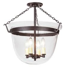 jvi designs oil rubbed bronze large semi flush bell jar lantern with clear glass