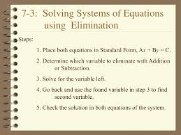 7 3 solving systems of equations using elimination n