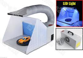 portable airbrush spray booth extractor with led light asb420l