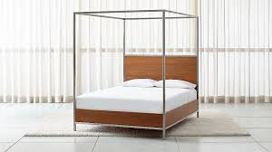 James Walnut with Stainless Steel Frame Queen Canopy Bed
