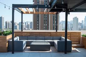 roof deck furniture. Rooftop Deck With Steel Pergola And Lounge-Chicago, Illinois Roof Furniture V