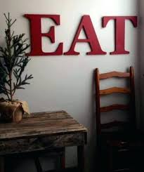 red kitchen wall decor arts art eat wooden letters yellow farmhouse style capital accessories