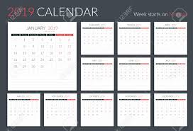 2019 Calendar Template 12 Pages Week Starts On Monday Vector