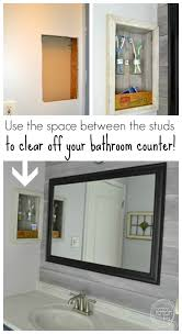 control bathroom countertop clutter by building a storage shelf in your wall between the studs