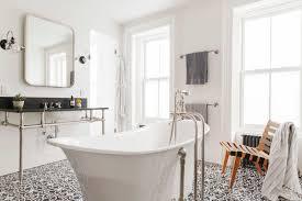 bathroom subway tile floor. Stand-alone-tub-bathroom-gray-cement-tile-floor- Bathroom Subway Tile Floor W