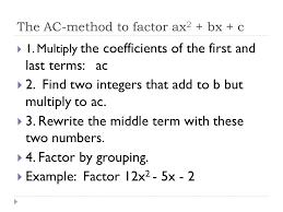 Ac Method 5 5 Factoring Trinomial Concepts 1 3 4 5 Factoring Trinomials Ac