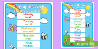 French Days Of The Week Days Of The Week A4 Display Poster English French Les