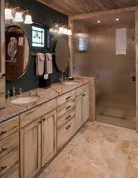 bathrooms traditional bathroom with double sink and rustic bathroom cabinet plus frosted glass shower door