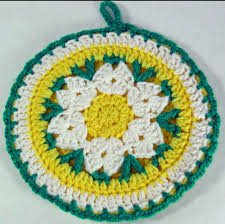 Free Crochet Potholder Patterns Extraordinary Free Crochet Pattern Daisy Potholder 48