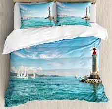 Amazon Com Lighthouse Duvet Cover Set Queen Size 4 Piece