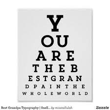 Best Grandpa Typography Snellen Chart Poster Zazzle Com