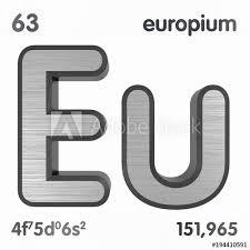 Europium Eu Chemical Element Sign Of Periodic Table Of