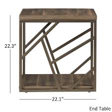 lincoln metal contemporary distressed wood coffee table or side modern tables by inspire q classic ea3f90
