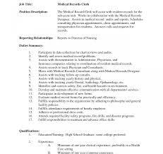Medical Records Clerk Job Description For Resume Medical Records Clerk Sample Job Description Best Photos Resume 21