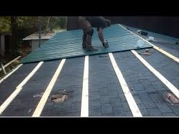 metal roof over shingles on a mobile home by myself youtube installing metal roof over shingles i52