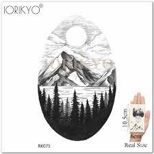 горные геометрические временные татуировки наклейки медведь король треугольник