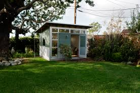 backyard office shed how did this indoor space outdoors impact the backyard when asked if her backyard office pod 4