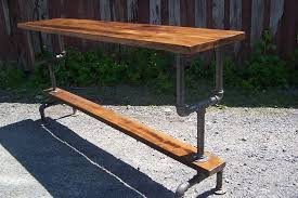 Custom Made Industrial Styled Bar Height Table With A Metal Pipe Base And  Salvaged Wood Planks