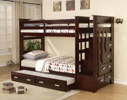 Espresso Kids Wood Twin Twin Stairway Bunk Beds Storage Trundle Stairs