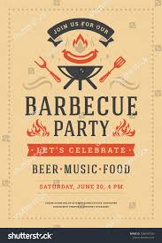 Barbecue Party Vector Flyer Or Poster Design Template Bbq