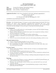 Retail Store Assistant Manager Job Description For Resume