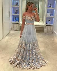 Dresses With Lights Fairy Light Blue Tulle Evening Dresses Off Shoulder Pleated Butterfly Appliques Backless Formal Evening Gowns Prom Dresses Sweep Train Evening Dress