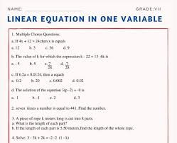 linear equation in one variable for