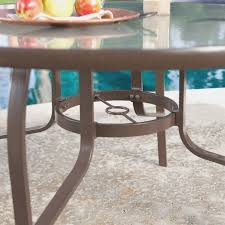 43 inch round glass top outdoor patio dining table with umbrella rh thedailycub com 48 round wood table top 30 round wood table top