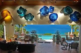 extravagant glass wall art flower blown platter ceiling sculpture panel australium nz fish blue purple