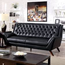 furniture of america valentino mid century modern bonded leather sofa