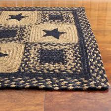 profitable rectangular braided rugs black country star jute primitive home decors