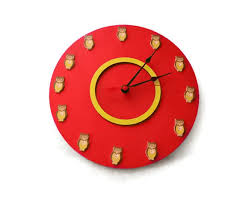round large red color wall clock owl