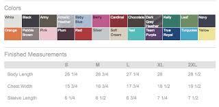 Bella T Shirts Color Chart Slk Printshop Custom T Shirts No Minimums West Chester