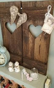Set 2 Fensterladen Vintage Braun Herz Holz Deko Garten Inspiration