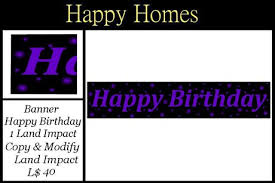 Purple Happy Birthday Banner Second Life Marketplace H Homes Birthday Banner Sign Black
