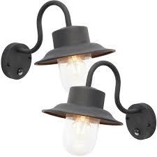 2 pack ip44 outdoor wall lamp black
