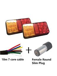 Slim Led Trailer Lights Pair Of 10 Led Trailer Lights Kit 1 X Female Silver Round Slim Plug 1 X 10 M 7 Core Cable 12v