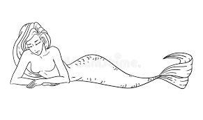mermaid coloring book page stock vector ilration of copy 72245688