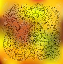 hand drawn transparent doodle composition of the flowers with mandalas for fabric print wall art on flowers wall art decor vector with hand drawn transparent doodle composition of the flowers with