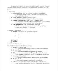 Presentation Outline Sample Writing An Informative Speech
