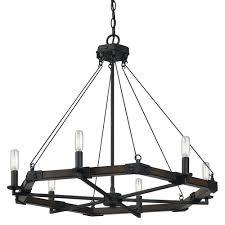 6 ltg blacksmith metal resin chandelier
