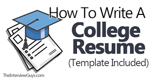 How To Write A College Resume Template Included