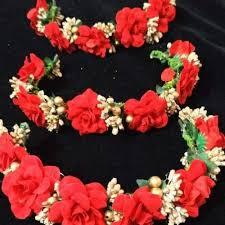 Red Paper Flower Fancy Flower Hair Gajra Veni
