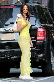 Emily Ratajkowski goes <b>sheer for</b> the <b>summer</b> in a neon yellow ...