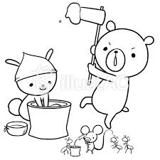 正月餅つき動物線画塗絵イラスト No 953285無料イラストなら