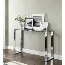 SIGNATURE Console Hallway Table Glass Top Chrome Stand  My Furniture
