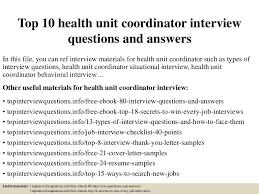 Health Unit Coordinator Job Description Resume Top 10 Health Unit Coordinator Interview Questions And Answers