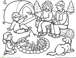Small Picture Color the Family Camping Trip Worksheets
