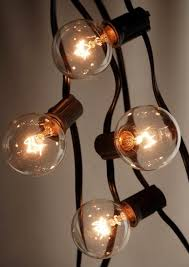 25 outdoor patio string light set g40 clear globe bulbs 28 ft black cord e12 c7 base end to end